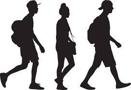 silhouette illustration of students walking