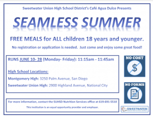 Seamless Summer. FREE MEALS for All children 18 years and younger. Continue reading for more information.